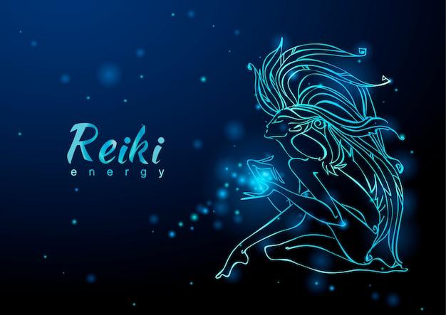 A energia reiki. a garota com o fluxo de energia. meditação.