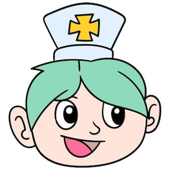 A enfermeira-chefe com um rosto simpático e bonito. emoticon de caixa. desenho do ícone do doodle, ilustração vetorial