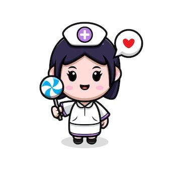A enfermeira fofa ama a ilustração do personagem de desenho animado do kawaii com pirulito