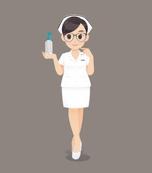 A enfermeira segurando o gel de lavar as mãos. cartoon mulher médico ou enfermeira usando óculos escuros em um uniforme branco