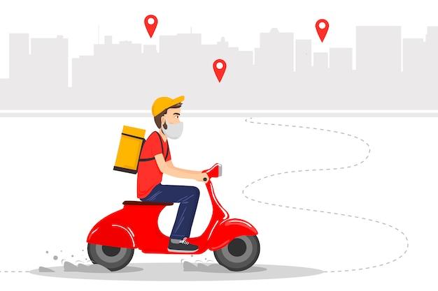 A entrega de alimentos é realizada pelo correio em um ciclomotor vermelho com alimentos prontos. correio em máscara protetora.