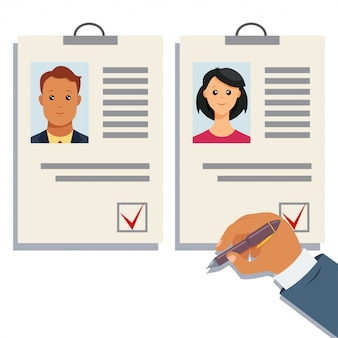 A equipe de análise retoma o vetor. escolha do empregador. imagem do conceito de agência de gerenciamento ou recrutamento de rh. ilustração de negócios recrutar processo de recursos humanos.