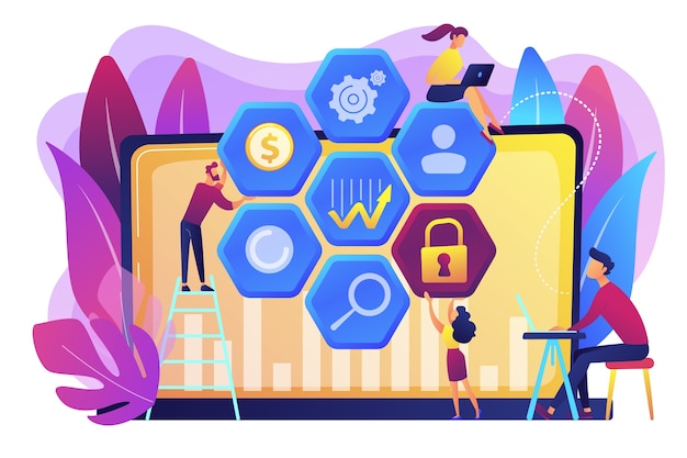 A equipe de analistas de risco de segurança cibernética reduz os riscos. gestão de segurança cibernética, risco de segurança cibernética, conceito de estratégia de gestão em fundo branco. ilustração isolada violeta vibrante brilhante