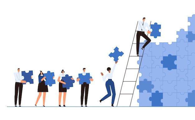 A equipe de negócios junta uma parede de ilustrações de quebra-cabeças