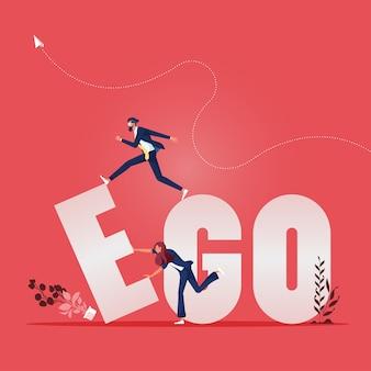 A equipe de negócios muda o conceito de texto ego para go
