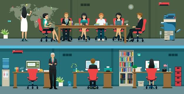 A equipe do escritório está atualmente trabalhando com parceiros e reuniões de trabalho