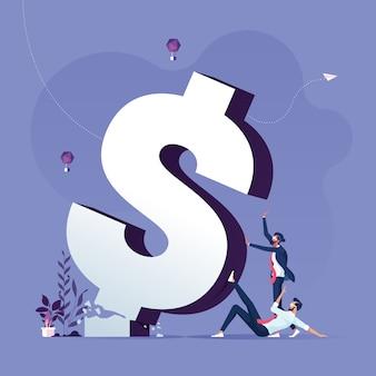 A equipe do negócio empurra a metáfora quebrada do sinal de dólar da crise e do conceito financeiro-inflação