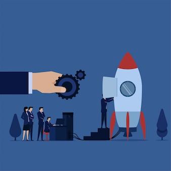 A equipe do negócio prepara o plano para a metáfora do lançamento de prepara seu próprio negócio ascendente.