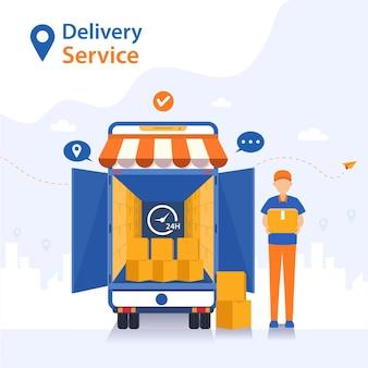 A equipe entrega mercadorias de carro aos clientes que fazem o pedido.