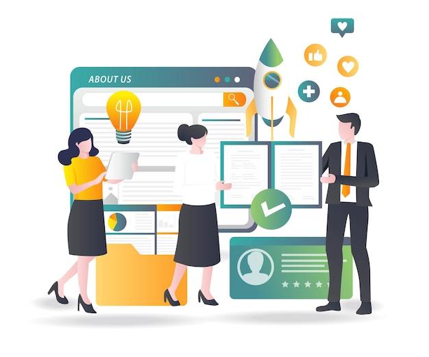 A equipe está combinando ideias para o crescimento do negócio de investimento