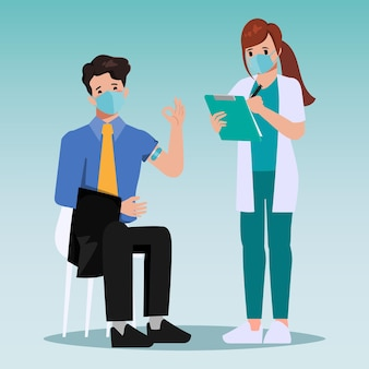 A equipe médica foi vacinada para covid19 para o paciente