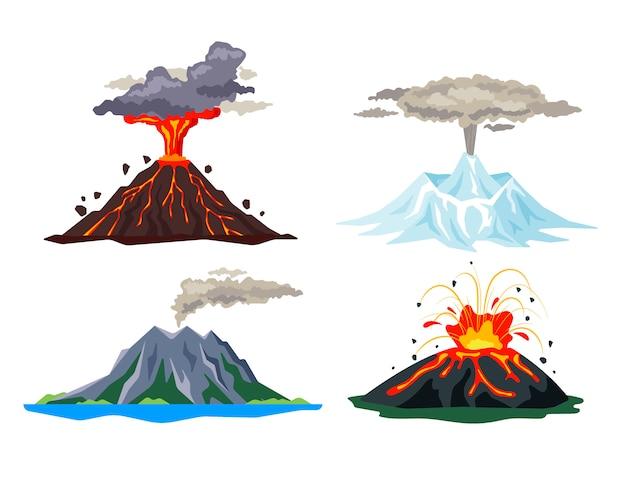 A erupção do vulcão ajustou-se com magma, fumo, cinzas isoladas no fundo branco. erupção de lava quente atividade vulcânica, vulcões adormecidos e em erupção - ilustração plana