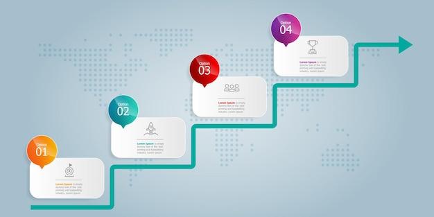 A escada aumenta a apresentação do elemento infográfico horizontal com ícones de negócios. 4 etapas de fundo de ilustração vetorial