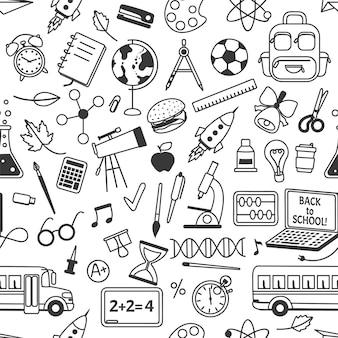 A escola rabisca o padrão sem emenda com os elementos de papelaria da escola desenhados à mão, ciência, matemática, geografia
