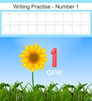 A escrita pratica o número 1 com o grande girassol