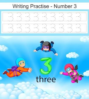 A escrita pratica o número 3 com três paraquedismo em ação