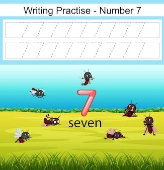 A escrita pratica o número 7 com mosquito no parque