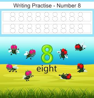 A escrita pratica o número 8 com moscas no parque