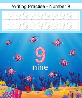 A escrita pratica o número 9 com peixes em subaquática