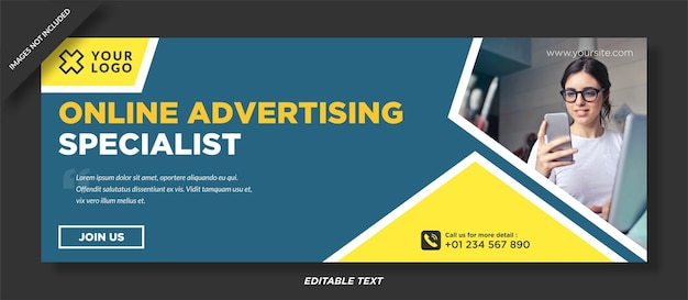 A especialidade em publicidade online é a capa do facebook e o modelo de mídia social