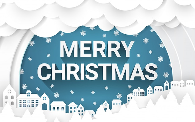 A estação do inverno do feliz natal com arte de papel abriga o campo e o floco de neve no céu.