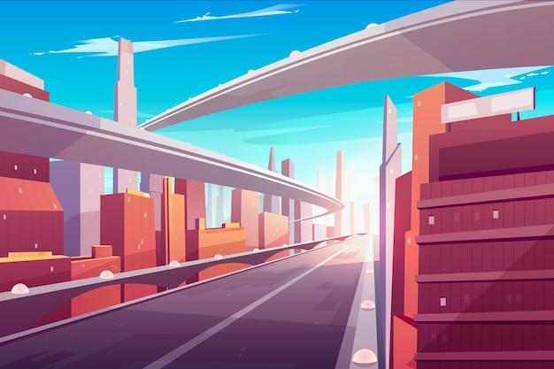 A estrada de cidade, autoestrada vazia do streetscape, apressa a estrada da pista dois, a passagem superior ou a ponte em megapolis modernos.