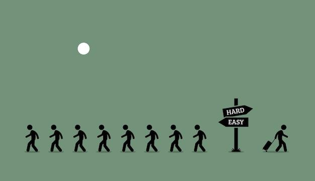 A estrada menos percorrida. a arte vetorial representa uma pessoa individual única agindo de forma independente e assumindo riscos.