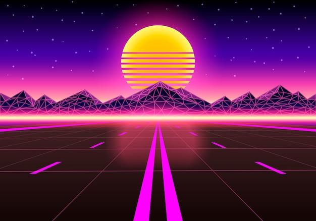 A estrada para o infinito ao pôr do sol. ilustração vetorial
