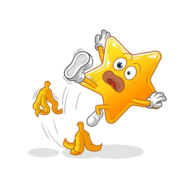A estrela caiu na banana. mascote dos desenhos animados
