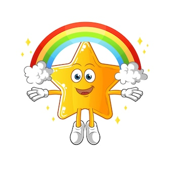 A estrela com um arco-íris. desenho animado
