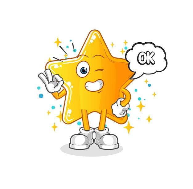 A estrela concorda mascote. desenho animado