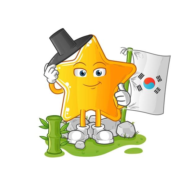 A estrela coreana. mascote dos desenhos animados
