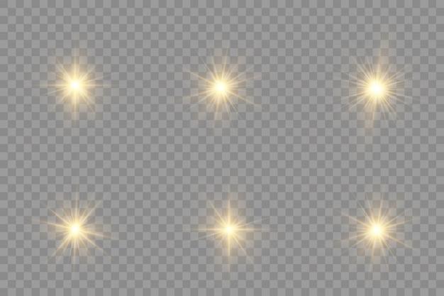 A estrela estourou com brilho, estrela brilhante, luz amarela brilhante estourou em um fundo transparente.