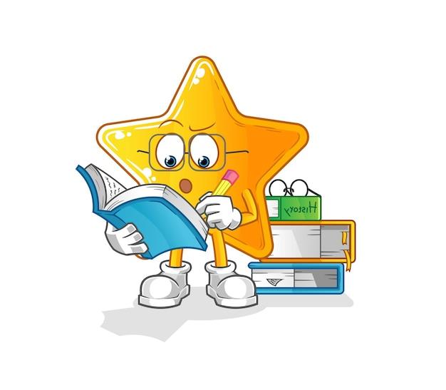 A estrela estudando mascote. desenho animado