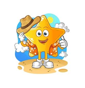 A estrela sai de férias. mascote dos desenhos animados