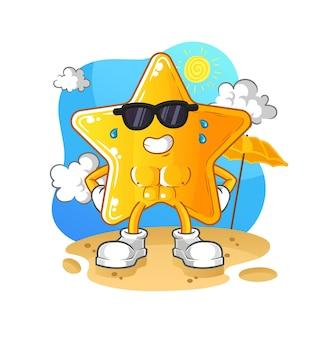 A estrela tomando banho de sol no verão.