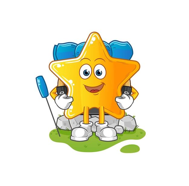A estrela vai acampar mascote. desenho animado