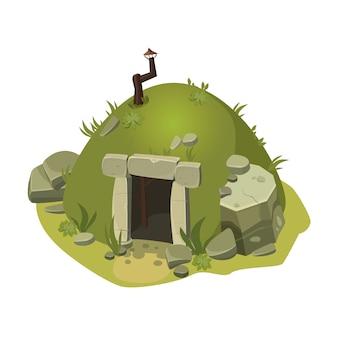 A estrutura para jogos de computador, casa, construção, água, rochas, desenhos animados, ilustração vetorial