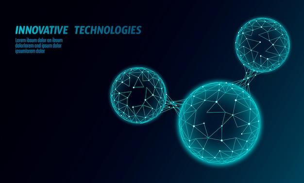 A estrutura poli baixa da molécula de água 3d rende o conceito.