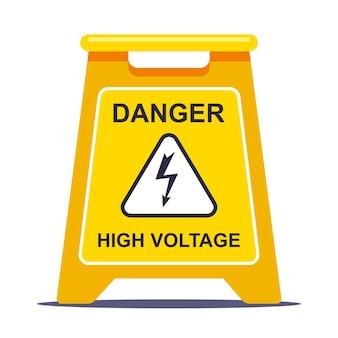 A etiqueta amarela limita a área devido à alta tensão