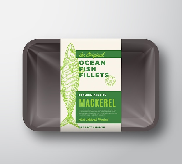 A etiqueta de embalagem do abstrato de filés de peixe original em bandeja de plástico com tampa de celofane.