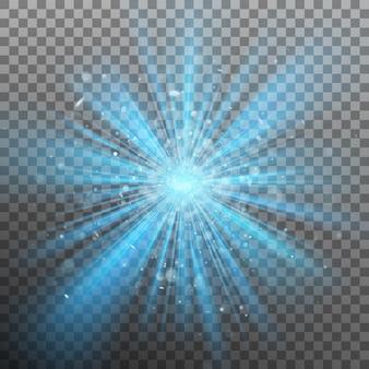 A explosão de cor azul força a luz.