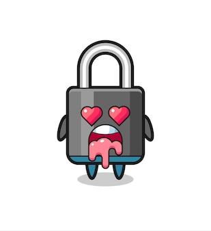 A expressão de apaixonar-se por um cadeado fofo com olhos em forma de coração, design de estilo fofo para camiseta, adesivo, elemento de logotipo