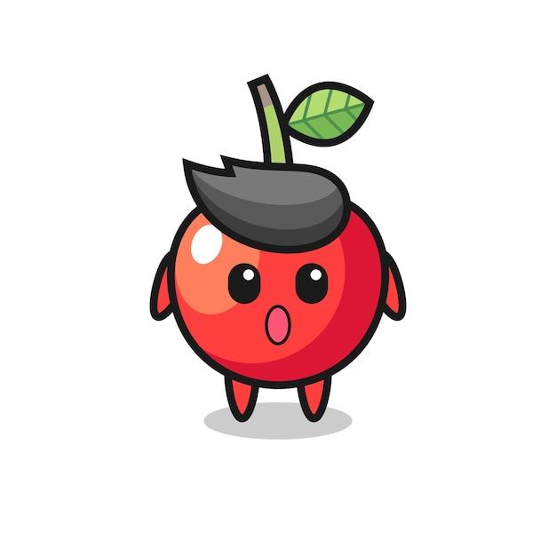 A expressão de espanto do desenho animado da cereja, design de estilo fofo para camiseta, adesivo, elemento de logotipo