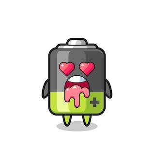 A expressão de se apaixonar de uma bateria fofa com olhos em forma de coração, design de estilo fofo para camiseta, adesivo, elemento de logotipo