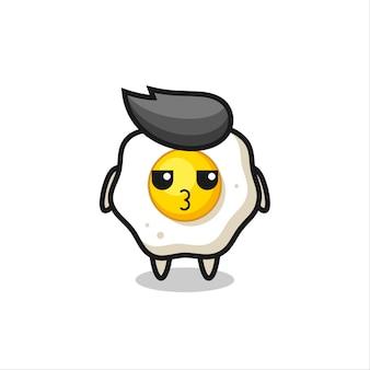 A expressão entediada de personagens fofinhos de ovo frito, design de estilo fofo para camiseta, adesivo, elemento de logotipo