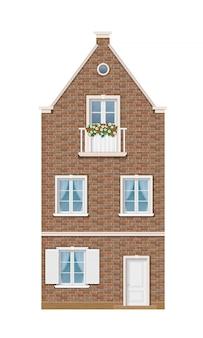 A fachada histórica da casa de tijolos europeus.