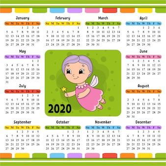 A fada madrinha voa e segura uma varinha mágica. calendário para 2020 com um personagem fofo.