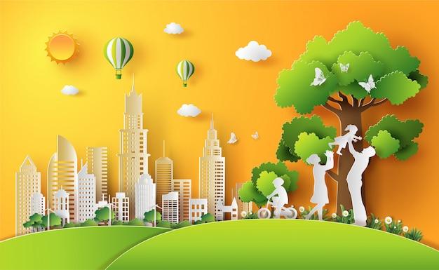 A família aprecia atividades ao ar livre com conceito do eco.