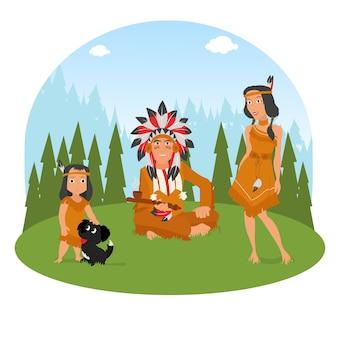 A família do índio americano tem um descanso na natureza.